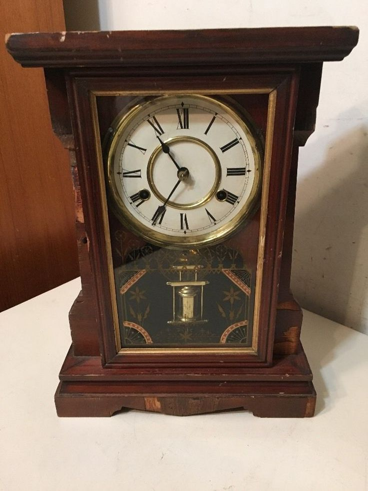 Antique Jerome New Haven Parlor Clock Great Pendulum & Glass