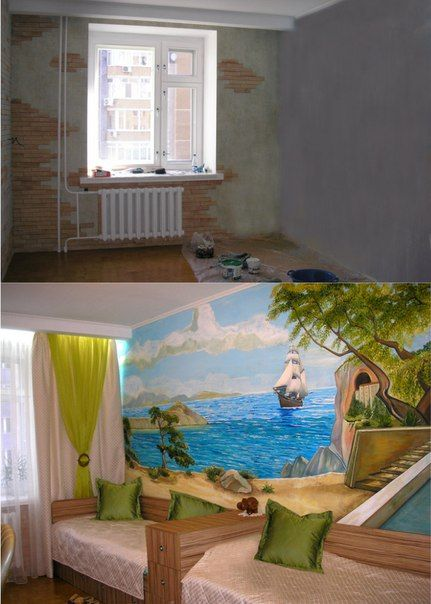 Before And After: A Room Is Transformed With A Custom Seascape Wall Mural.  Great