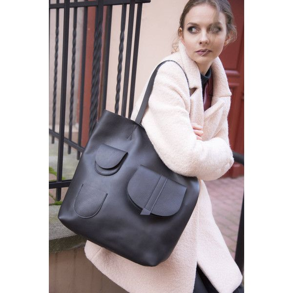 large leather tote bag (535 PLN) found on Polyvore featuring women's fashion, bags, handbags, tote bags, genuine leather tote bag, handbags tote bags, leather tote bags, tote purses and handbags totes