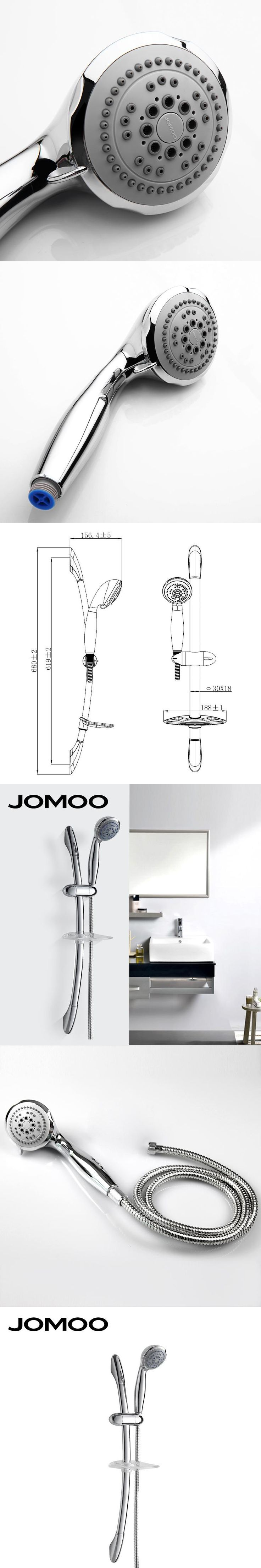 JOMOO Bathroom Shower Set Bath Shower Head With Slider Bar And Hose And Soap Holder Wall Mount Round ABS Hand Shower Chrome