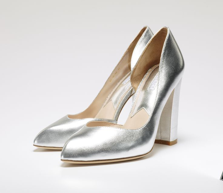 Molly silver leather court shoe with chunky heel.