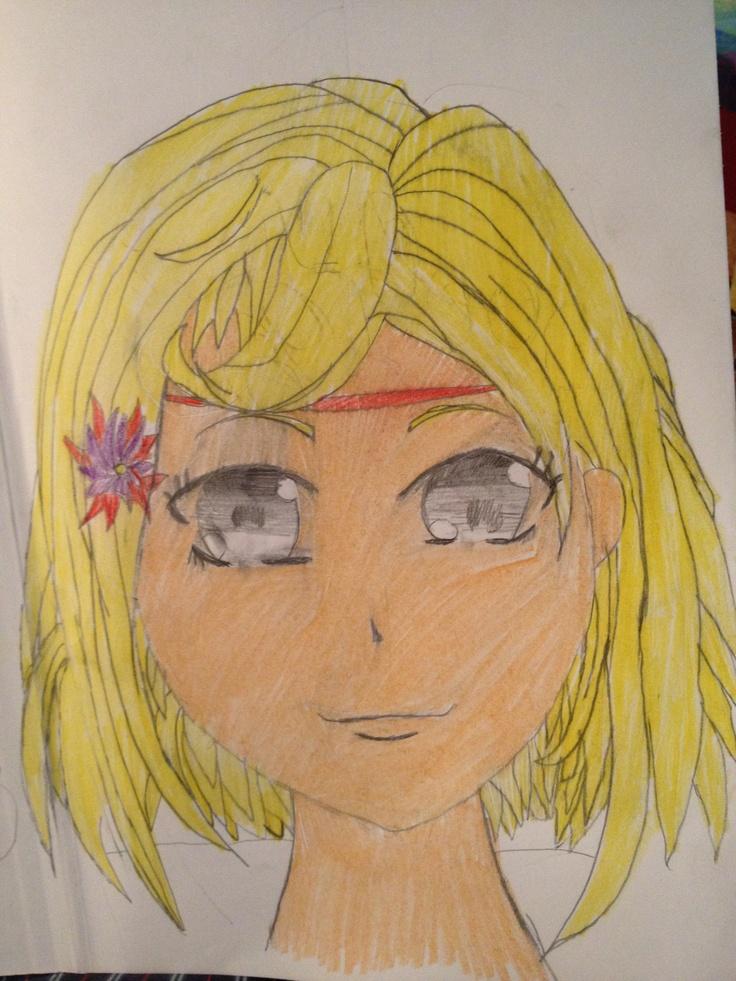 Manga-jente. Blyant og fargepenn. Jonatan 12/10 2012.