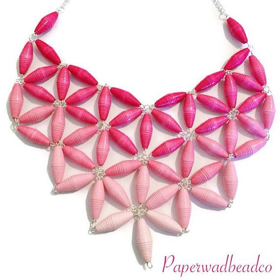 Paper Bead Jewelry, Paper Bead Ombre Bib Necklace, Pink Ombre Paper Bead Bib, Ombre Paper Bead Bib, Statement Necklace, Paperbead Jewelry