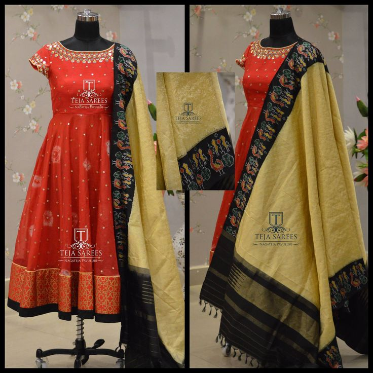 Here is a beautiful Red and Gold Combi Ikkat Duppata from Team Teja...TS-DS- 455Available For orders/queriesCall/ whatu2019s app us on8341382382 orMail tejasarees@yahoo.com  24 April 2017