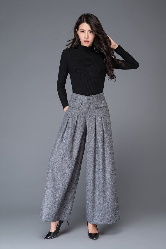 light grey pant- wool pant- winter pant- wide leg pant- womens pants- long pants- made to order  C1001