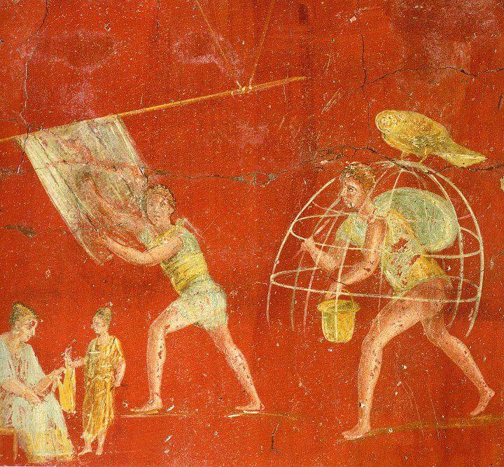 Da Pompeii, Fullonica di Veranius Hypsaeus (VI, 2, 31) - Affreschi da un pilastro della fullonica. Pannello con operai al lavoro, uno che spazzola un telo di lana, mentre un altro porta una gabbia di bastoncini disposti a cupola che serve a solforare con fumigazioni le stoffe al fine di sbiancarle. Sulla gabbia è appollaiata una civetta che allude alla dea Atena, protettrice dei lanaiuoli.