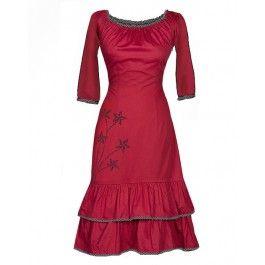 Ecouture by Lund - Rød Carmen - kjole i økologisk, håndprintet bomuldssatin