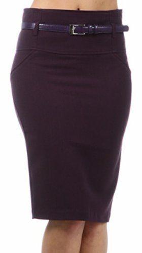 For Bridesmaids:  Amazon.com: Knee Length High Waist Stretch Pencil Skirt with Skinny Belt: Clothing