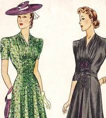 Vtg 1940's Simplicity 3465 Gather Inset Detail Dress Pattern B42