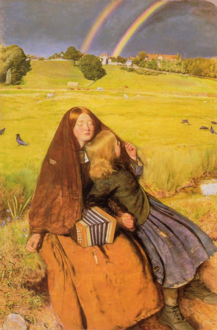 <눈 먼 소녀(The Blind Girl)>. 존 에버렛 밀레이 作. 1854-1856년. 몰락하는 유럽 미술계를 개혁하고자 했던 '라파엘 전파'의 기수이자 영국의 대표 화가인 밀레이의 작품이다. 소녀는 동생처럼 무지개도, 드넓은 평야도 바라볼 수 없다. 하지만 그녀는 손으로 풀을 매만지며 자연을 느끼고, 콘서티나를 연주하며 행복을 느낀다. 그리고 곁에는 그녀의 숄에 얼굴을 묻은 채 손을 꼭 붙잡고 있는 그녀의 동생이 있다. 전체적으로 화사한 듯 하면서 어두운 느낌을 주는 이 작품에서, 무언가 폭풍이 몰아칠 것만 같다는 생각이 들었다. 허나 소녀의 곁에 있는 동생을 보고 이내 안심이 됐다. 꼭 맞잡은 두 손에서 나는 '자매간의 우애'를 느낄 수 있었기 때문이다.