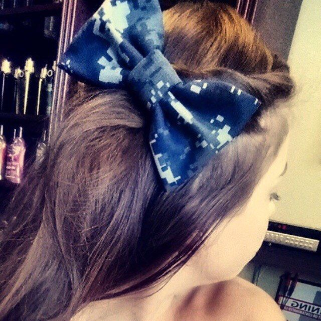 Military US Navy Camo Bow (NWU Type 1/blue and Type 3/green/Seabees) by PatrioticBows on Etsy https://www.etsy.com/listing/182482998/military-us-navy-camo-bow-nwu-type-1blue
