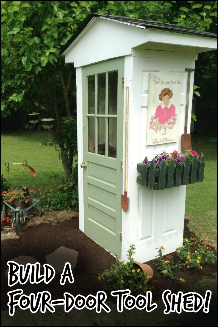 Isn't it a clever idea? A shed with four doors - three of them serves as walls. Perfect if you have a small yard and have only a few simple garden tools around.