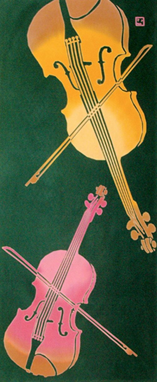 Japanese Tenugui Fabric, Violin, Music Instrument, Musician Gifts, Musical Art Wall Tapestry, Fashion Fabric, Home Decor Wall Art, JapanLovelyCrafts