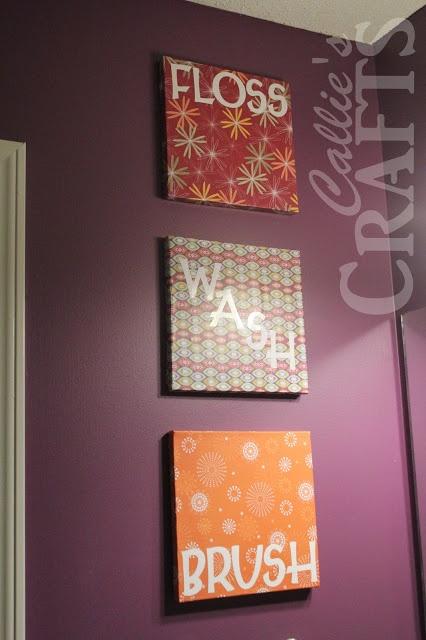 DIY, Bathroom Art, Mod Podge,Vinyl Cricut Letters, purple paint, floss, brush, wash, flush
