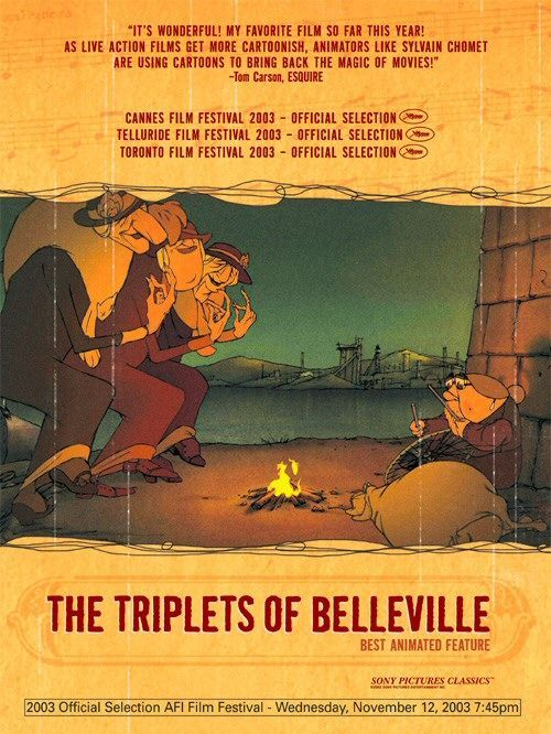 The Triplets of Belleville , starring Michèle Caucheteux, Jean-Claude Donda, Michel Robin, Monica Viegas. When her grandson is kidnapped during the Tour de France, Madame Souza and her beloved pooch Bruno team up with the Belleville Sisters--an aged song-and-dance team from the days of Fred Astaire--to rescue him. #Animation #Comedy