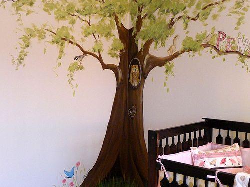 Penelope's Pink & Brown Nursery Tree Mural | Using Client's … | Flickr