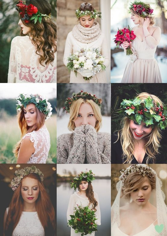 Floral Crowns for Winter Weddings Mood Board | Winter Wedding Wonderland | Snow Wedding