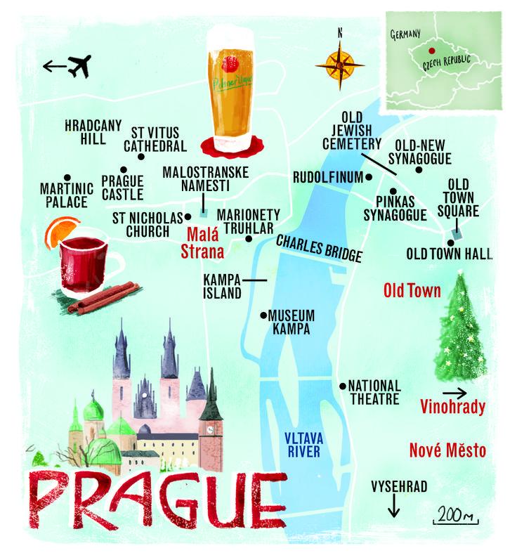 Prague map by Scott Jessop. December 2013 issue