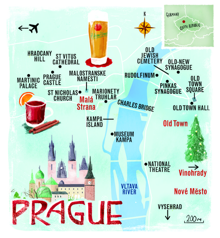 Prague map by Scott Jessop. December 2013 issue