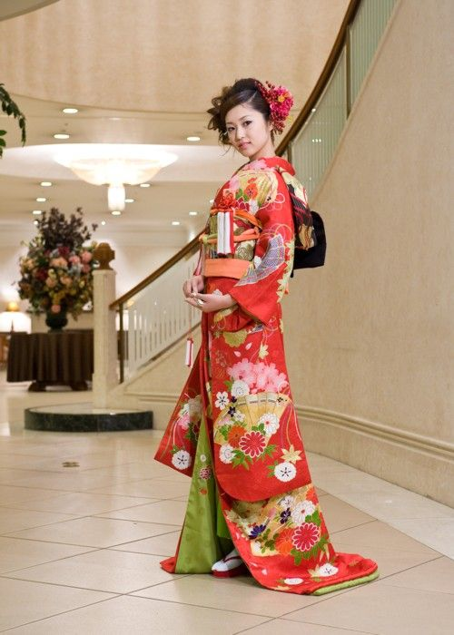 Red and Spring Green Bridal Kimono with Fans and Flowers Motif