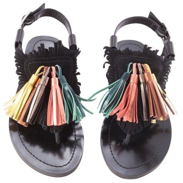 Fringe and tassel flat sandal - BIMBA Y LOLA ❤ liked on Polyvore