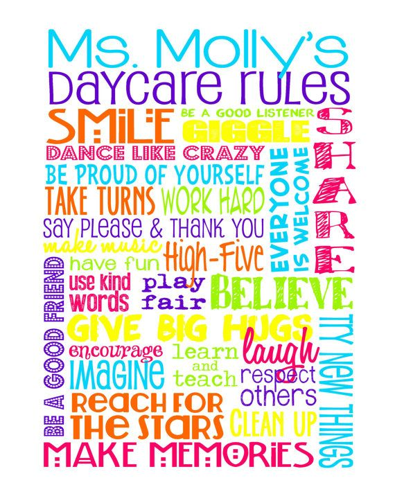 Classroom Rules with terms perfect for a Daycare or Preschool Teacher - Customize with Teacher's name! Teacher gift idea