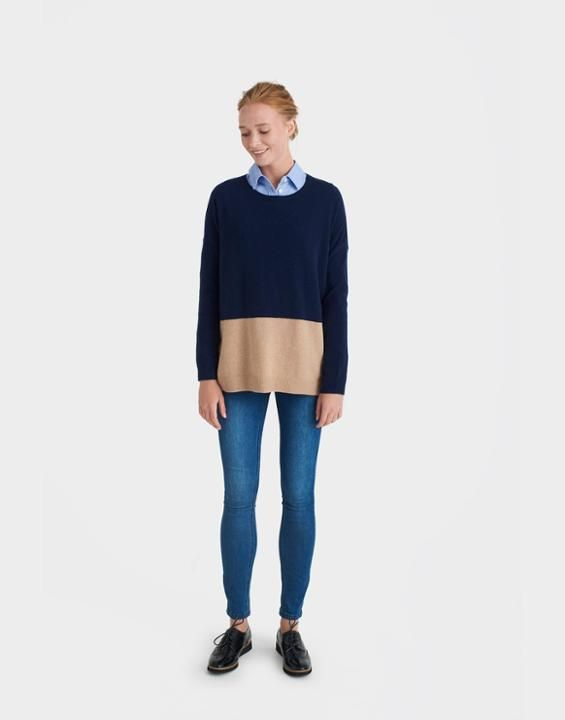 Haylock French Navy Camel Jumper | Joules UK