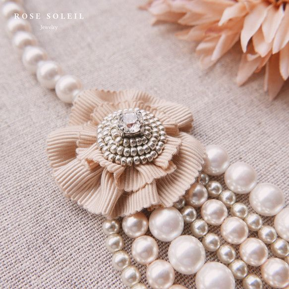 ✧ Pearl Necklace ✧ Blossom Wind Collection - Rose Soleil Jewelry のパールとスワロフスキークリスタルネックレス