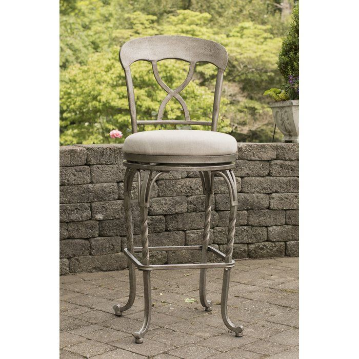 Beautifully contoured and simple the Phares indoor/outdoor stool extends traditional style and comfort to your kitchen or patio for indoor or outdoor entertaining. Boasting a heavy-duty steel frame, a beautifully hammered gunmetal powder coated finish for extra durability and protection against harsh UV rays, a 360-degree swivel mechanism, weather resistant sunbrella cast ash performance fabric, and a reticulated quick dry foam seat, these durable and attractive stools are ideal for your...