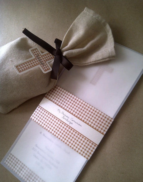 First Communion and Baptism invitation in brown gingham. $3.75, via Etsy.