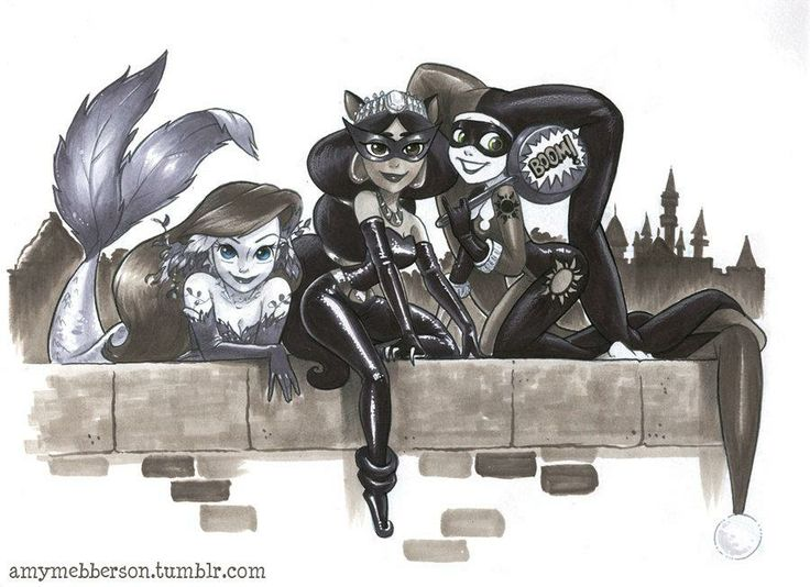 Poison Ivy (Ariel), Cat Woman (Jasmine), & Harley Quinn (Rapunzel)