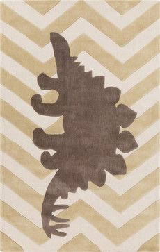 Surya Kids Green Cream Zigzag Stegosaurus Budding Rug By