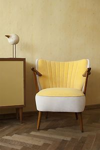 VINTAGE, RETRO 50s COCKTAIL CHAIR, 60s REUPHOLSTERED ARMCHAIR, FABRIC, CLUBCHAIR