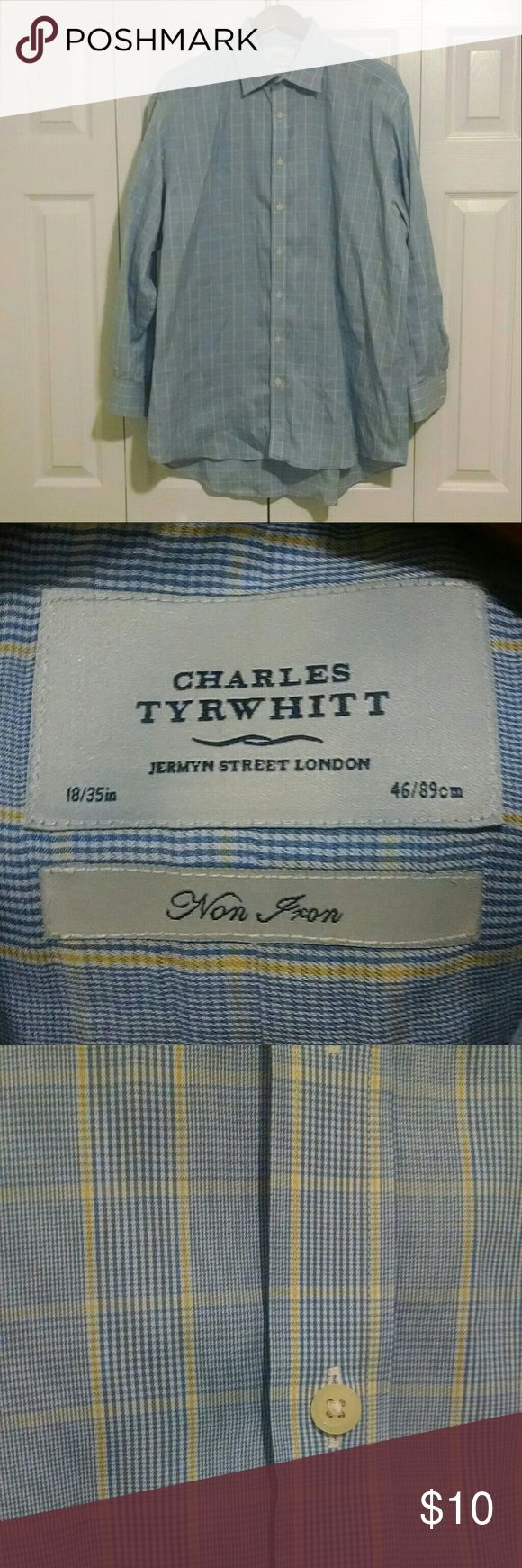 """Charles Tyrwhitt Non Iron Dress Shirt Excellent condition!  18"""" collar, 35"""" sleeve.  Bundle and save! Charles Tyrwhitt Shirts Dress Shirts"""