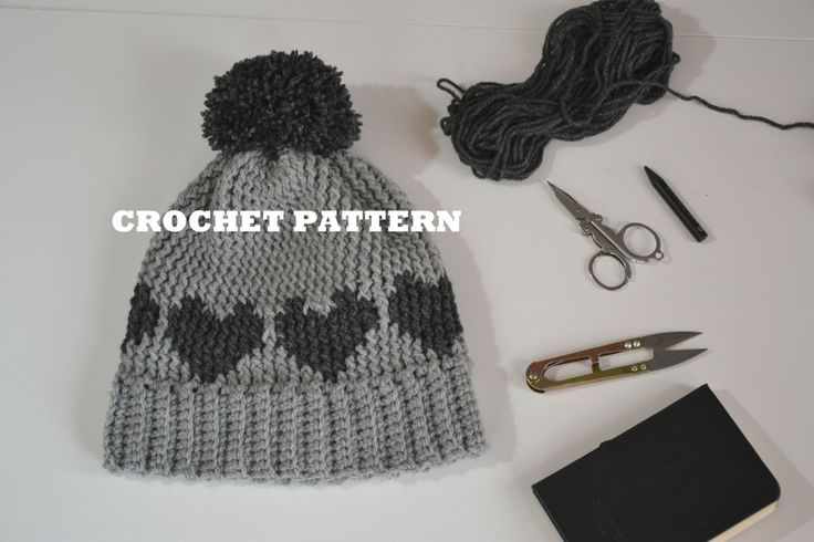 Crochet pattern, Childrens crochet hat pattern, PDF PATTERN , INSTADOWNLOAD, Anita hearts hat crochet pattern di MariluCrochet su Etsy