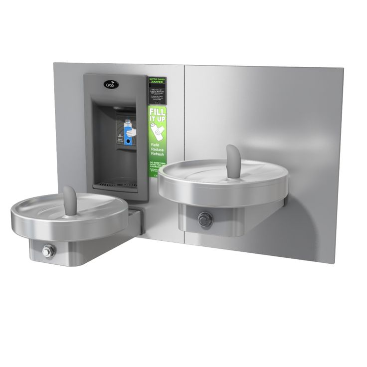 """""""Врезной"""" аппарат MMRSLEBFY для наполнения бутылок и двойной безбарьерный круглый питьевой фонтанчик"""