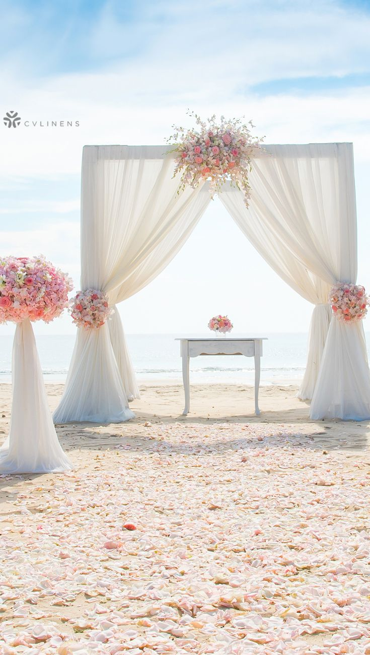 Elegant Coral And White Outdoor Beach Wedding Ceremony Arch