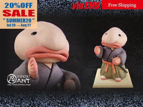 "Etsy のBizarre Ceramic Doll, Ceramic ""Samurai Blobfish"", Fantasy Art Doll, Japanese Kimono Style, Free Shipping(ショップ名:ShinobuArakiArt)"