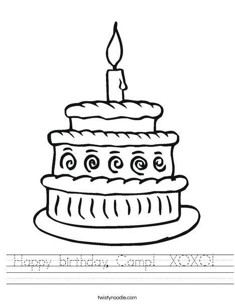 Happy birthday, Camp XOXO Worksheet - Twisty Noodle