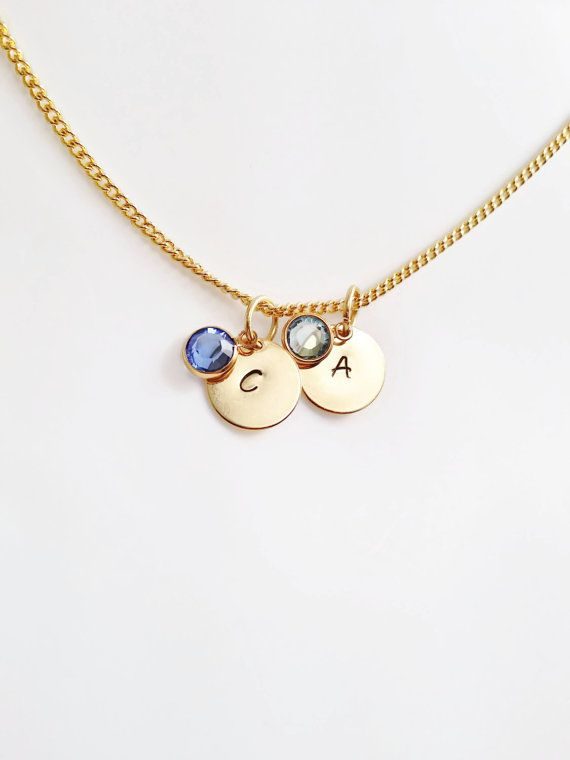Initial Necklace on a Disc with Birthstone - A mothers necklace - Personalised Jewellery - Gold Plated - Valentine Gift #customchic #etsyretwt