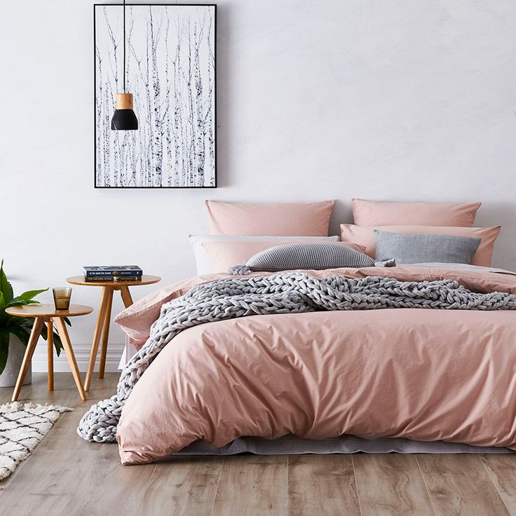 Blush quilt cover + grey throw | Bedroom decor inspiration ...