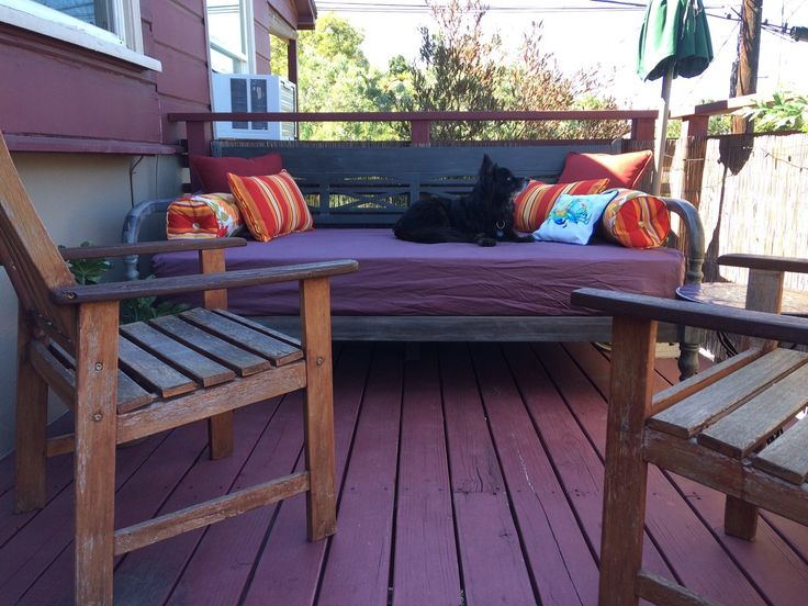 My new patio set up for the summer. Started with a World Market Daybed and some new pillows from Home Goods.