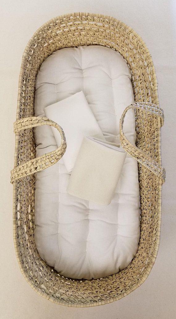 Moses Basket Set Liner Organic Wool Matteress Sheet Hemp Moses Basket Basket Sets Organic Wool