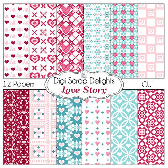 Valentine Love Story Papers for Digital by DigiScrapDelights #pink #blue #hearts
