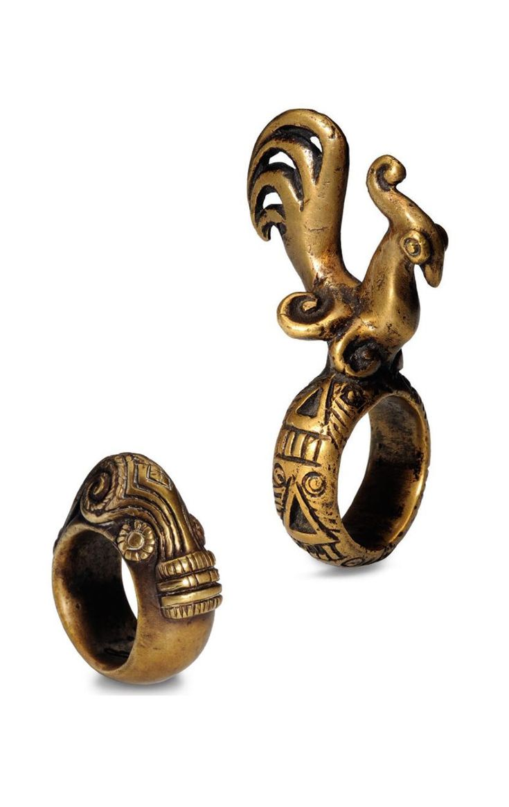 Indonesia ~ Batak Toba | Men's rings with fighting cock and 'singa'; bronze (lost wax method)  | Northern Sumatra ||| Source; Ethnic Jewellery from Indonesia: Continuity and Evolution. Bruce W Carpenter. Pg 62