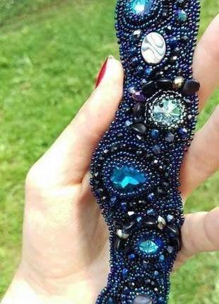 Kup mój przedmiot na #vintedpl http://www.vinted.pl/akcesoria/bizuteria/16698454-bransoleta-bransoleta-czarna-recznie-robiona-krysztalki-swarovskiego