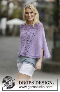 "Knitted DROPS poncho with lace pattern and vent in ""Big Merino"". Size: S - XXXL. ~ DROPS Design"