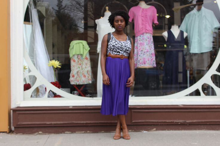 Just a quick shot of one of our regular customers wearing a new purchase! This beautiful pleated purple skirt was such a great find!