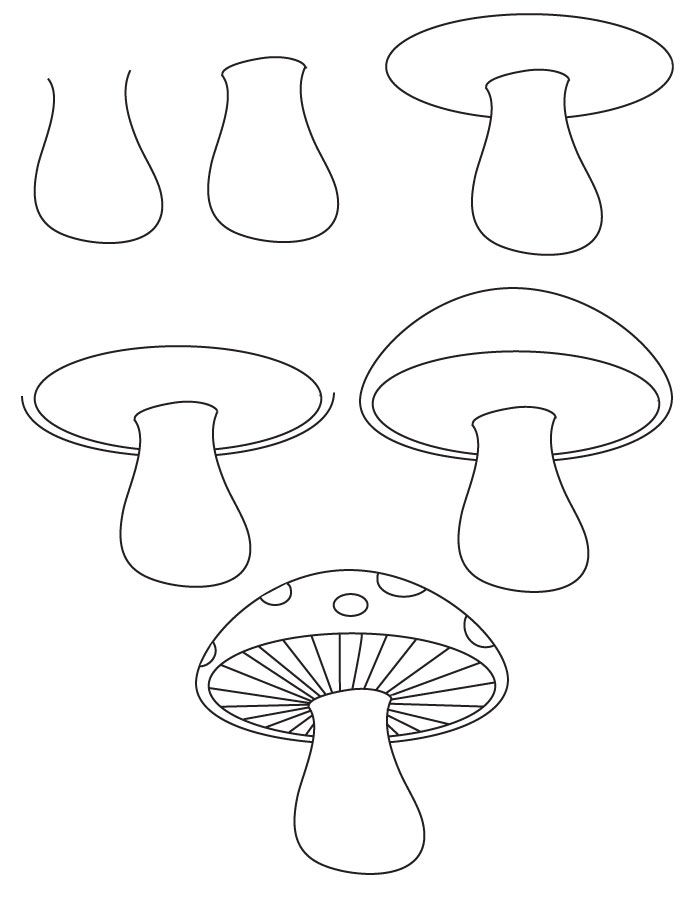 Steps to Draw a Tree | learn how to draw a mushroom with simple step by step instructions