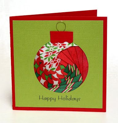 Iris fold ornament card ... made with ribbon instead of paper.